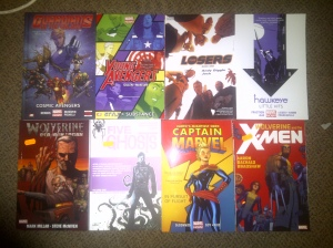 My comic collection (minus Hawkeye: My Life as a Weapon 'cos that's at home)
